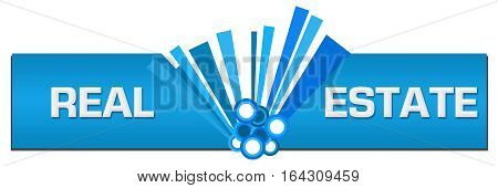 Real Estate text written over blue abstract background.