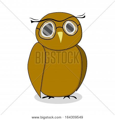 Wise owl with glasses. Bird owl vector illustration owl isolated