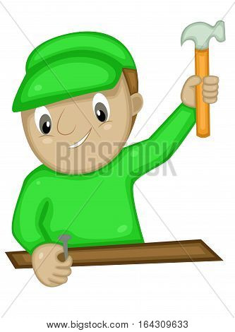 Craftsman Hammering Nail Cartoon Character. Vector Illustration Isolated on White.