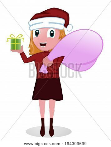 Young Girl in Santa Claus Costume with Bag and Present. Vector Illustration.