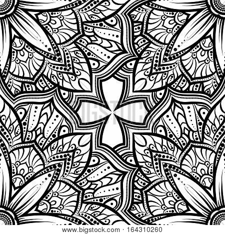 Vector Seamless Pattern Mandala Flower On A White Background. Monochrome Black And   . Doodle Lace .