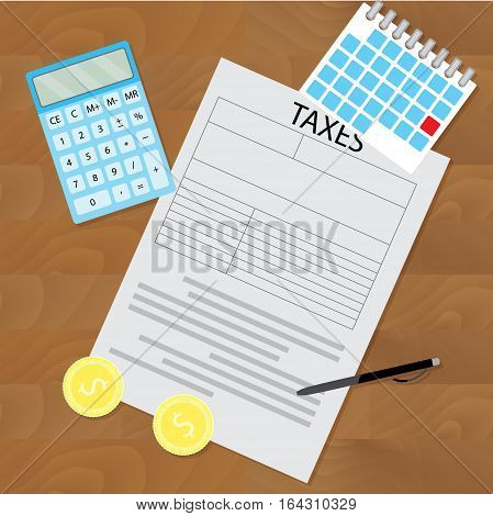 Tax day concept. Tax refund report balance document tax vector illustration