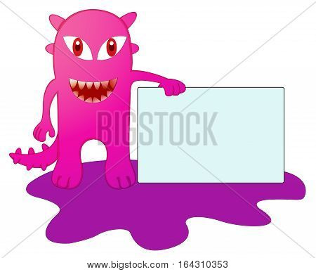 Purple Monster with Sign Board Cartoon Illustration.