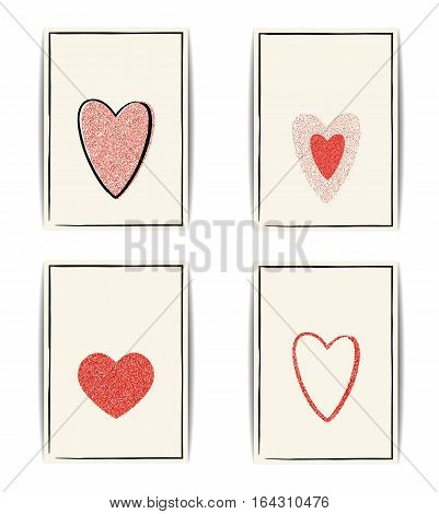 Set of love card templates. Red textured hearts with glitter sequins. Place for text. Design for Valentine banner or wedding invitation, labels, flyers, postcards. Vector EPS10 illustration.