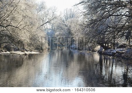 Nezarka river winter 2016 South Bohemia Czech Republic