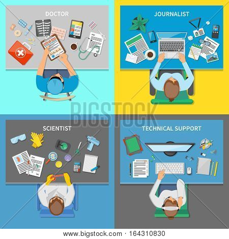 Professions 2x2 design concept set of doctor scientist journalist top view workplaces flat vector illustration