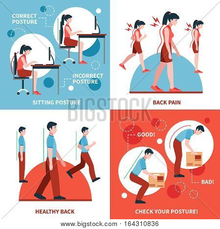 Correct and incorrect postures for healthy back and spine 2x2 design concept set flat isolated vector illustration