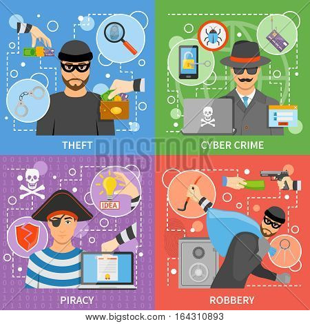 Flat crime concept with property money theft virus attack threats intellectual information stealing vector illustration