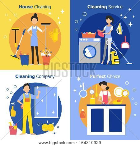 Cleaning people concept with housewife maid and company worker in flat style vector illustration