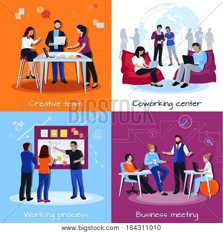 Coworking people 2x2 design concept with team of creative employees meeting discussing working together flat vector illustration