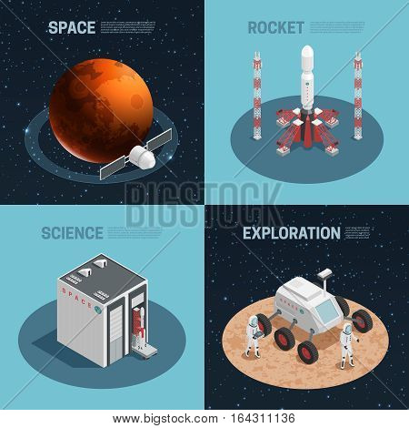 Four rocket space isometric icon set with science exploration space and rocket headlines vector illustration
