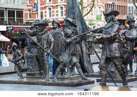Amsterdam, Netherlands - March 31, 2016: Night Watch statue by Rembrandt in Rembrandtplein, Amsterdam, Netherlands