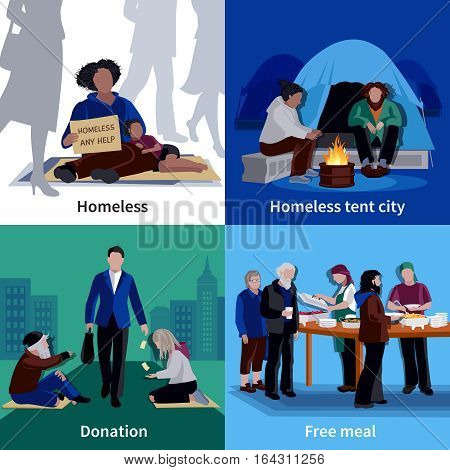 Homeless people 2x2 design concept with hungry beggar sitting on sidewalk man making donation free meal flat vector illustration