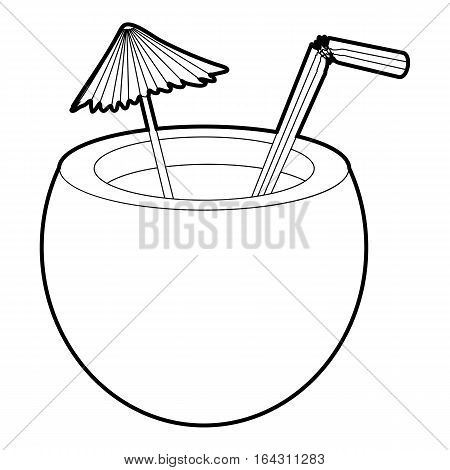 Coconut cocktail icon. Isometric 3d illustration of coconut cocktail vector icon for web