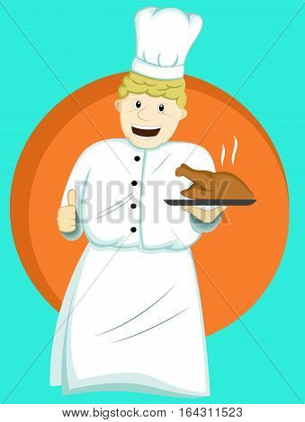 Chef Serving Food on Plate Cartoon Illustration