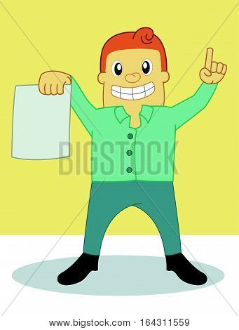 Debt Collector with Paper Carton Character. Vector Illustration.