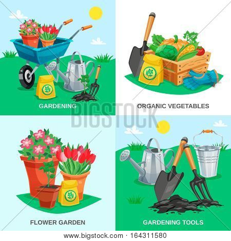 Garden 2x2 design concept set of organic vegetables garden flowers tools and inventory colored compositions flat vector illustration