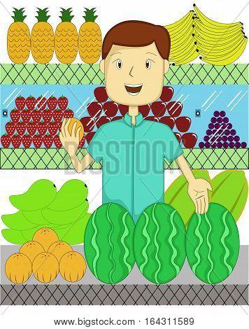 Fruit Seller with Many Kind of Fruits Cartoon Illustration