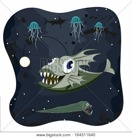 Cute deep water angler fish on dark background with marine life