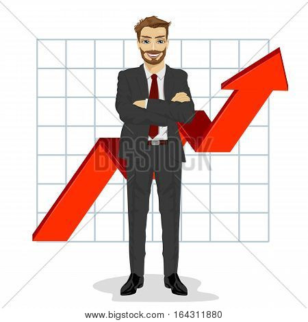 full length illustration of successful business man with arms folded. Financial success bar graph growing up