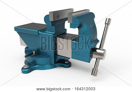 Blue bench vice on white background 3D rendering