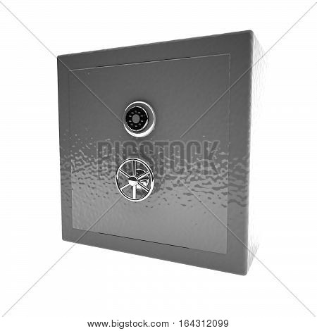 Closed Strongbox Isolated Over White