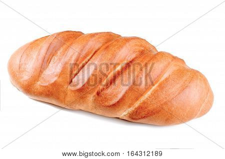 loaf isolated on white background. loaf of white bread