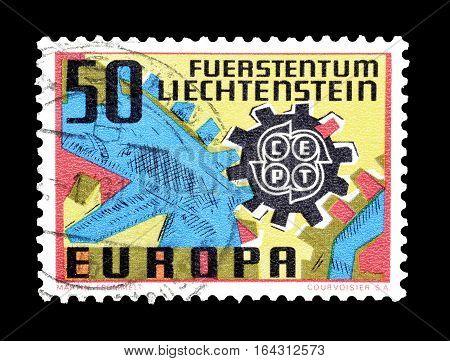 LIECHTENSTEIN - CIRCA 1967 : Cancelled postage stamp printed by Liechtenstein, that shows CEPT stamp.