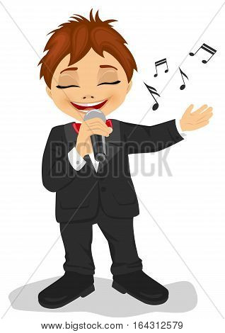 Little boy in black tuxedo with microphone sings a song. Isolated on a white background