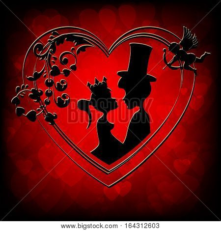 Silhouettes of fairy tale characters Prince and Princess inside a heart on a red background