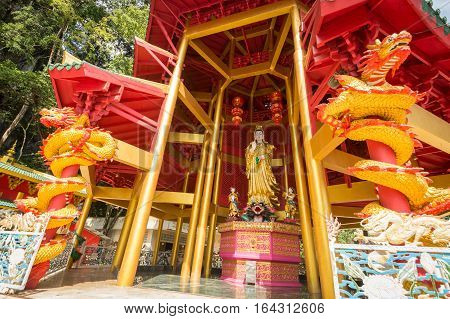 Krabi, Thailand - December 26, 2016 : Chinese Style Pagoda At Tiger Cave Temple In Krabi, Thailand.