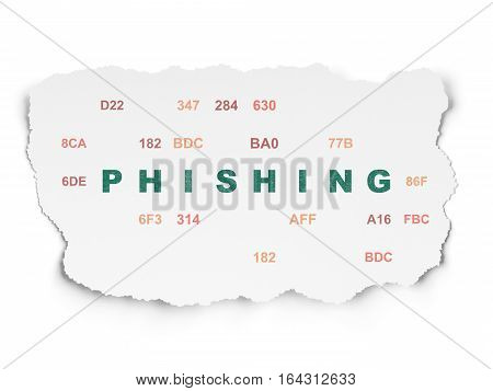 Protection concept: Painted green text Phishing on Torn Paper background with  Hexadecimal Code