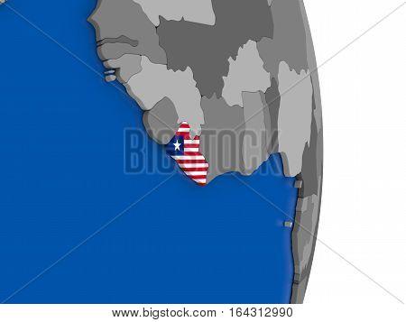 Liberia On Globe With Flag