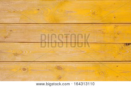 Vintage Yellow Faded Natural Rustic Wooden Background. Grunge Old Solid Wood Shabby Peeling Paint Isolated Wall Texture. Stylized Weathered Hardwood Surface. Horizontal Image Copy Space