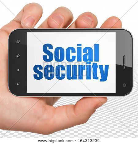 Protection concept: Hand Holding Smartphone with blue text Social Security on display, 3D rendering