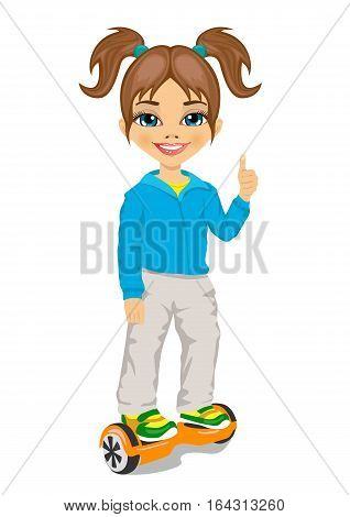 happy little girl riding a gyroscooter and giving thumbs up - eco transport, hoverboard, smart balance wheel