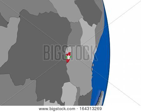 Burundi On Globe With Flag