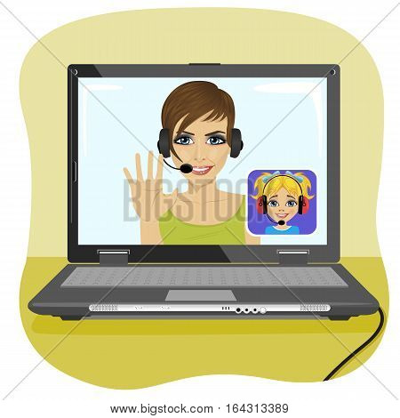 Young mom chatting with her daughter via the internet. Video call and chat concept. Modern communication technology.