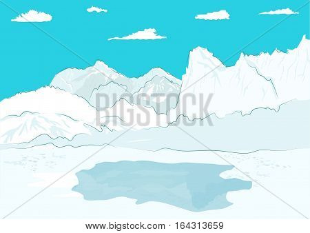 Pressure ridge and melt water at the geographic north pole
