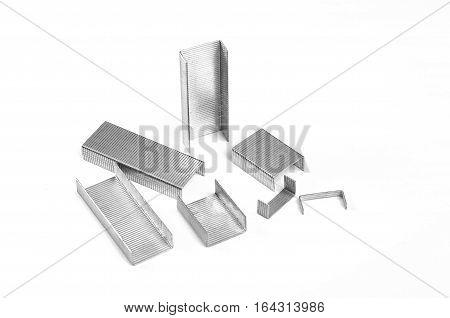 Staples closeup isolated on a white background