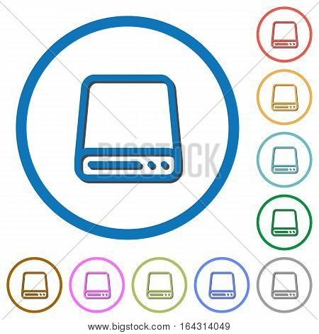 Hard disk drive flat color vector icons with shadows in round outlines on white background