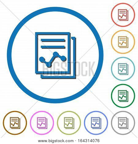 Report with graph flat color vector icons with shadows in round outlines on white background