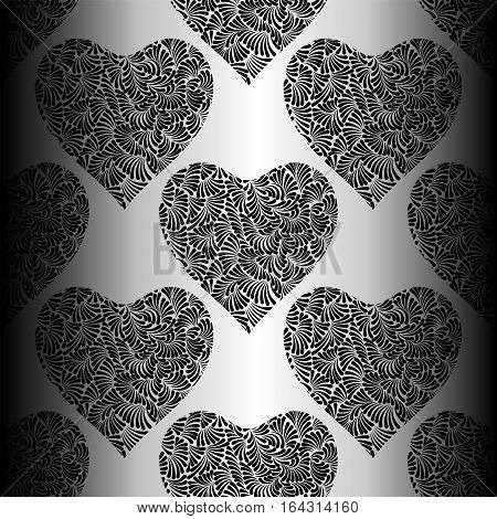 Silver Hearts Seamless Vector Pattern. Shiny Silver And Black Valentines Day Background. Doodle Hear