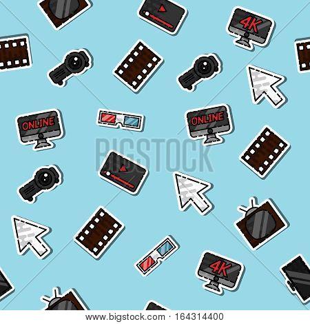 Hand drawn online cinema pattern, excellent vector illustration, EPS 10