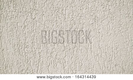 Abstract Grunge Decorative Relief Stucco Wall Texture. Rough Ivory Washed Horizontal Background With Copy Space
