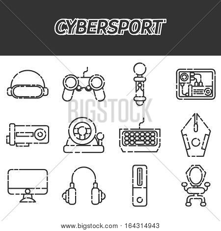 Cybersport icons set . Game gadget color icons set with wireless gamepad console joystick steering wheel elements isolated vector illustration