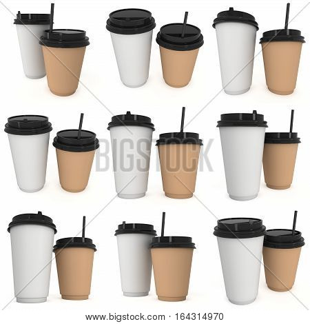 Disposable coffee cups with paper straw set. Blank paper mug with plastic cap. 3d render isolated on white background