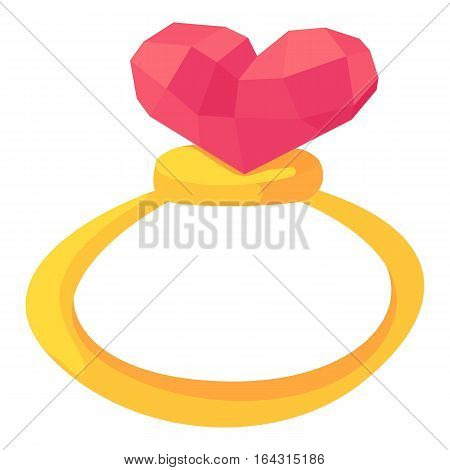 Gold ring with pink heart gemstone icon. Cartoon illustration of gold ring with pink heart gemstone vector icon for web