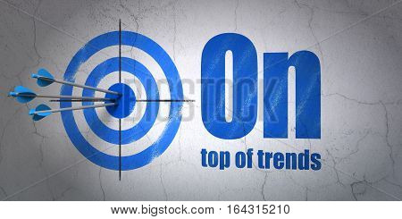 Success business concept: arrows hitting the center of target, Blue On Top of trends on wall background, 3D rendering