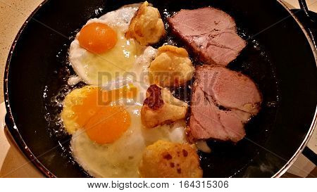 Eggs, Meat And Cauliflower